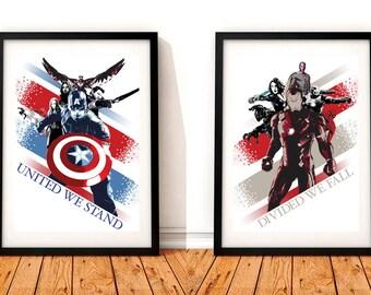 Captain America Civil War Set Of 2 A3 Prints