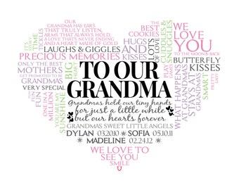 Personalized Grandma Heart Word Art. * * Digital Image * * DIY Printable * *