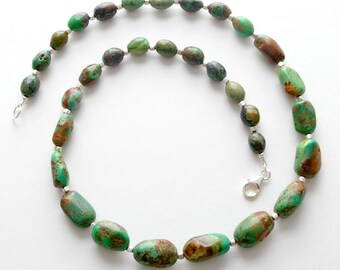Carico Lake Turquoise Necklace. Genuine, Rare Green Blue and Brown