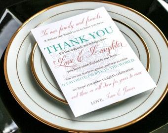 "Indian Wedding, Arabic Wedding, Henna Invitations, Bat Mitzvah, Coral, Gold and Teal - ""Modern Henna"" Reception Thank You Sign 5x7 - DEPOSIT"