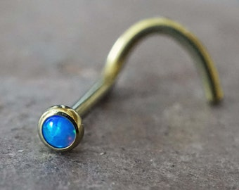 18g Blue Opal Gold Nose Ring Opal Nose Screw