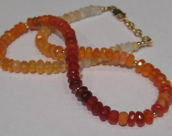 Natural Mexican Opal neckalce.................  Faceted Beads ....    18 inch .........            e856