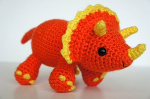 Amigurumi Dinosaur Free Pattern : Pdf crochet amigurumi pattern triceratops dinosaur