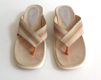 Vintage Cole Haan Nike Air Thong Sandals, Women's Size 9.5 B, Cremini Suede, Flip Flops
