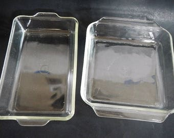 """Vintage Anchor Hocking Fire King or Pyrex Baking Dish- 1970s- CHOICE, 8"""" square, rectangle #231- clear glass, bakeware, kitchen, ovenware"""