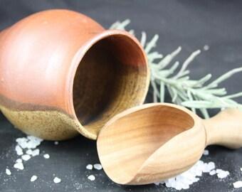 Salt Pot & Scoop/handmade ceramic and woodturned scoop/pottery anniversary gift/homeware/kitchenware/8th anniversary/mothers day/woodart