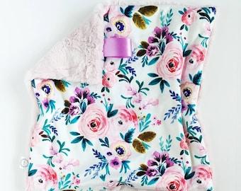 Antique Floral Lovey, Minky Lovey, Faux Fur Lovey, Floral Lovey, Girl Lovey, Rose Lovey, Vintage Floral Lovey, Watercolor Floral, Lilac