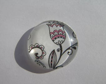 Cabochon 25 mm round domed flowers