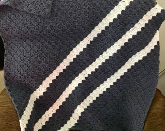 Blue and white striped lapghan