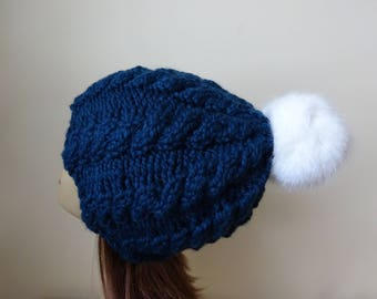 Cable Knit Hat Faux Fur Pompom Women Winter Hat Chunky Knit Hat Petrol Blue Hat White Pompom Acrylic Hat - Ready to Ship - Gift for Her