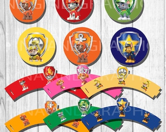 Paw Patrol cup cake wrapper and topper- Paw Patrol  - Paw Patrol  Cupcake Topper & Wrapper Set -  Instant Download