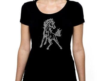 Mustang Horse RHINESTONE t-shirt tank top  S M L XL 2XL - Riding Show Cowgirl Western Stallion Bling
