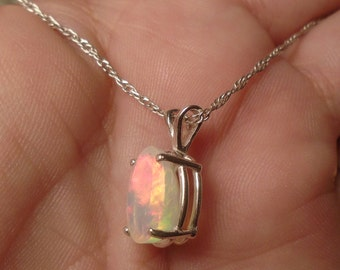 Holiday Special Ethiopian Fire Opal Necklace, Sterling Silver, 2.04 Carat  Facet 11.1 x 8 mm Natural Welo Fire Ethiopian Opal