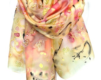 Hand Painted Silk Scarf. Anniversary Birthday Gift for Her. Silk Painting. Genuine Art to Wear. Woman Scarves Silk. 18x71in. MADE to ORDER