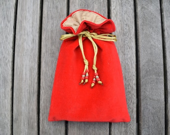 Red Cotton Velvet Tarot / Oracle Bag Lined with Antique Gold Dupion Silk