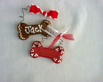 Personalized Dog Bone Ornament or magnet, Christmas Ornament for dogs