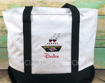 OVERSIZED Disney Cruise Inspired Boat Tote, Zippered Beach Tote, Vacation Bag