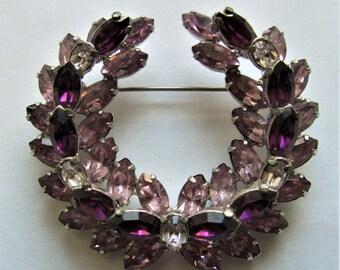 Purple And Lavender Vintage Rhinestone Brooch Signed Regency