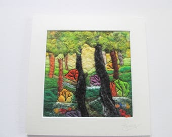 woodland picture, wet felted art, textile art