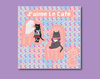 Cute Cat Cafe Greetings Card