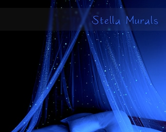 Glow in the Dark Bed Canopy | Star Canopy with Glowing Lights | White Bedroom Decor | 200 - 1000 Star Decals for Star Ceiling