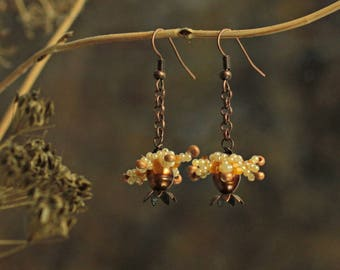Tiny Flower Earrings, Botanical Earrings, Blossom Earrings, Boho Earrings Women, Copper Boho Earrings with Orange Pearls, Flora Earrings
