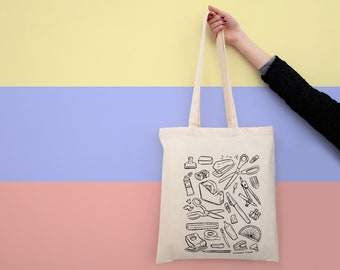Stationery Art Supplies- Screen Printed Tote Bag | Natural Cotton Shopper Bag