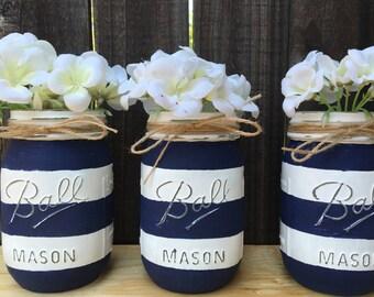 nautical mason jars distressed mason jars nautical baby shower nautical home decor - Nautical Home Decor
