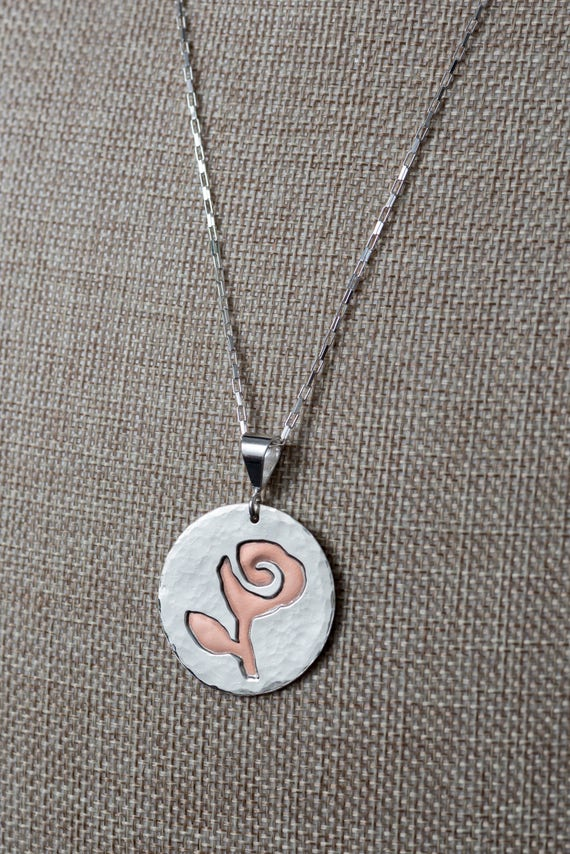 Textured Sterling Silver over Copper, Rose Pendant on a Sterling Silver Long Box Chain.