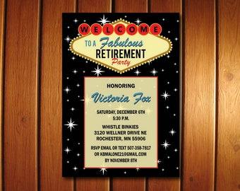 Las Vegas Retirement Invitation | Retirement Party Invitation | Printable Invite
