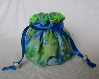 Jewelry Bag - Medium Size - Fabric Jewelry Pouch - Drawstring Tote - PAINTED RIVER
