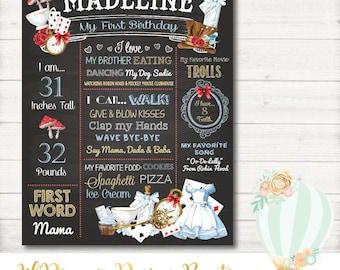 First Birthday Chalkboard, alice in wonderland First Birthday Chalkboard, onederland, vintage, classic, bio board - DIGITAL - First Birthday
