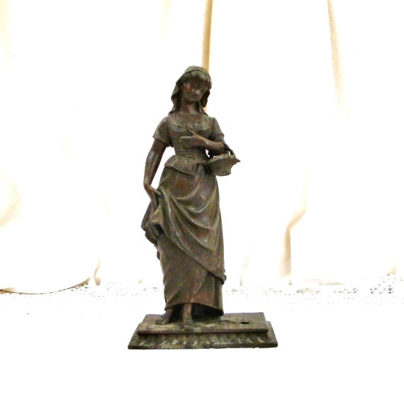 Antique 19th Century French Cast Iron Statue of Young Girl with Flower Basket, Sculpture of 1800s Woman from France in Cast Metal, Art