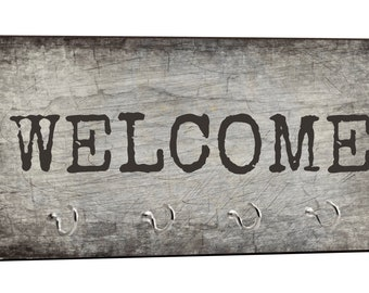 "Welcome - Grunge Style - 5"" by 11"" Key Hanger Household Decoration with Four Hooks"