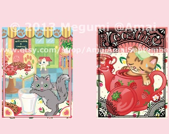 "4 designs - 4x5"" Kitties & Cookies Folded Note Card, Envelope, Stickers.  cat kitten animal pet milk tea pot cup coffee time bath tulip art"