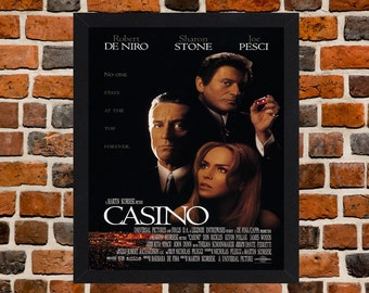 Framed Casino Robert De Niro & Joe Pesci Cult Mafia Crime Movie / Film Poster A3 Size Mounted In Black Or White Frame (Version-1)