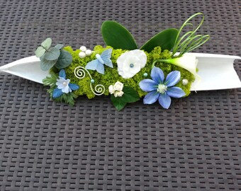 flowers composition Center table with Butterfly in shades of ivory and blue