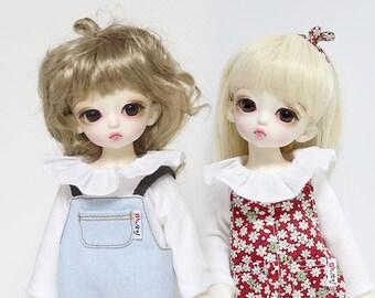 Frilly T-shirt  for yosd and 16cm Tiny BJD: PukiFee Lati Yellow Tiny Delf & similar sized dolls