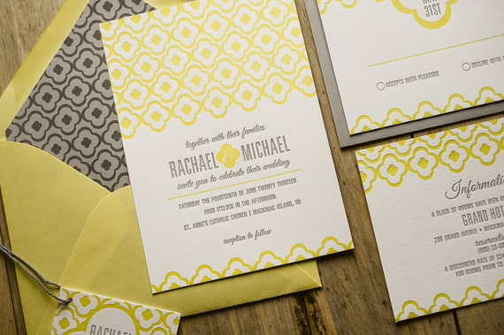 Yellow Grey Wedding Invitations: Yellow & Gray Wedding Invitation Yellow Wedding Invite