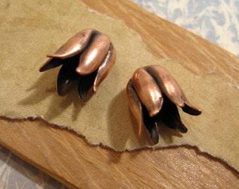 Tulip Bead Caps in Antique Copper by Nunn Design - 2 Count