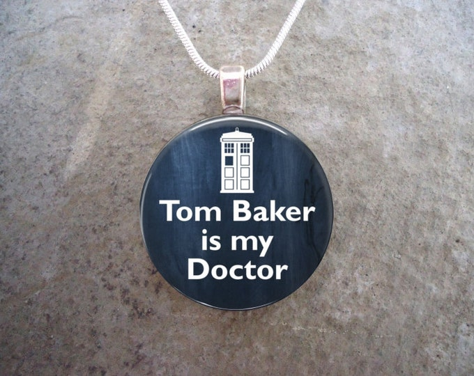 Doctor Who Jewelry - Glass Pendant Necklace - Tom Baker is my Doctor