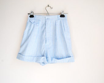 ON HOLD --80s pastel rainbow stripe shorts -- vintage high waist shorts, pleated, pinstripe, cuffed, cotton, mom shorts, 1980s 80s, xs