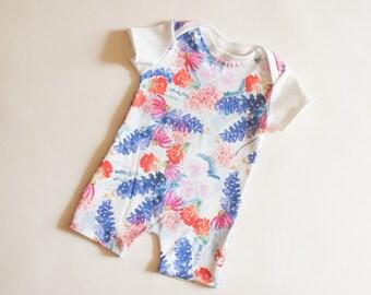 bluebonnet baby romper, romper, organic baby clothes, Texas baby, , Texas, baby clothing, organic clothing, bluebonnets, bluebonnets outfit