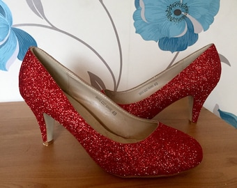 Ruby Red Heels - Court shoes - Wizard of Oz - Bridal Shoes - Bridesmaid - Wedding - Prom - Customised Shoes - Glitter Shoes - UK Size 3-8