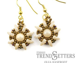 "DIY Kit Kreativset Ohrringe ""Sunflower"" in beige-bronze (2) beading tutorial earrings"