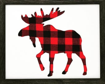 """11x14 1.75"""" Rustic Black Frame with Moose and Buffalo Plaid"""