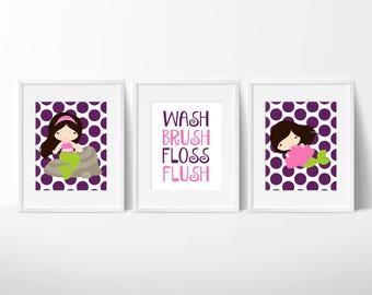 Mermaid Bathroom Art Prints, Mermaid Bathroom Decor, Sisters Bathroom Decor
