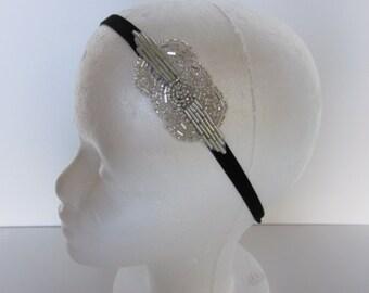 Silver Beaded Headband, Art Deco 1920s Great Gatsby Headpiece, Daisy Buchanan Flapper Headpiece, Wedding Hair Accessory Costume Party