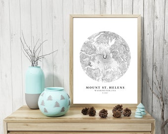 Mount St. Helens Topographic Map, Mount St. Helens Map, Mount St. Helens Print, Printable Topographic Map,Mount St. Helens Poster