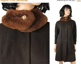 ON SALE Vintage Coat XS S 60s 70s Dark Brown Wool Winter Jacket Shearling Fur Collar Free Us Shipping